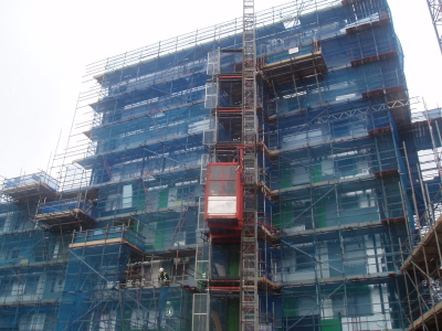 Single cage 20/32TD 2000kg Passenger Goods Hoist at Southend-on-Sea Development