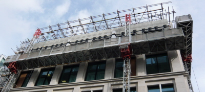 Mast Climbers for Savile Row Stone Cladding Project Suppied by London Hoist